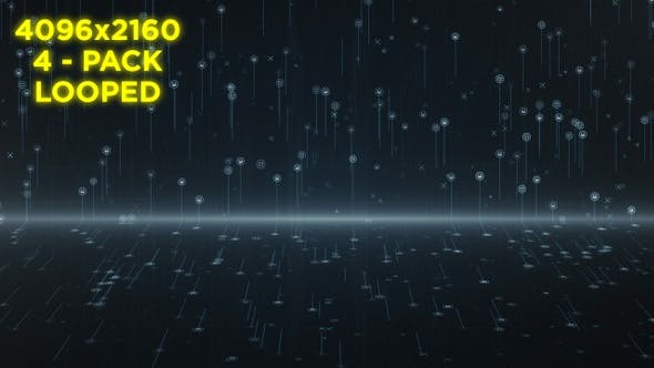 Thumbnail for Digital Line Particles Background - 4 Pack