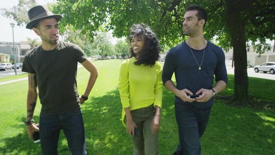 Thumbnail for African woman enjoying summer sun while walking in park with friends