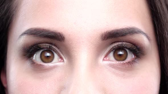 Thumbnail for Brown Women's Eyes Blink. Close Up