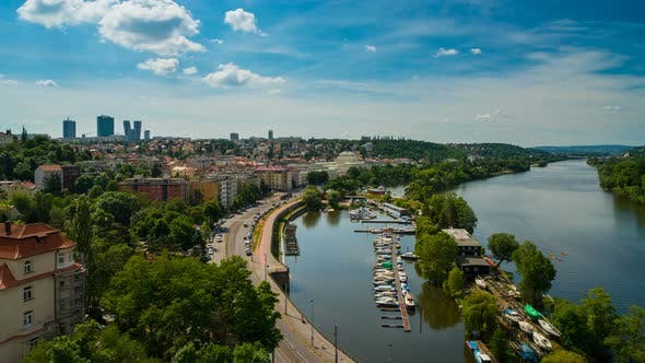 Thumbnail for View from Visegrad in Prague on the City and Vltava River
