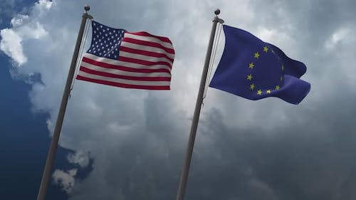 Waving Flags of the United States  And The European Union 4K
