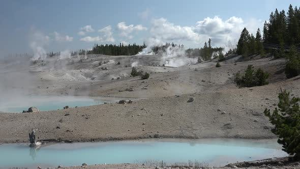 Thumbnail for Yellowstone National Park in Summer Steam Mist Volcanic Activity Geyser