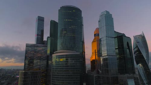 Business Center Moscow City. Aerial, Dron Shoot.