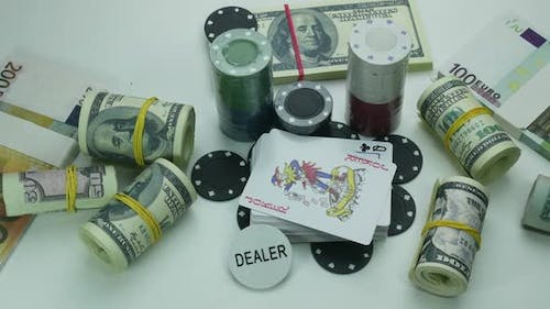 Playing Set For Poker And Money On The Table