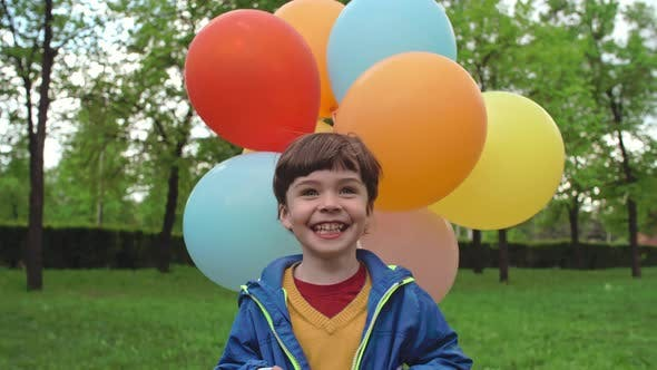 Cover Image for Ecstatic Little Boy with Balloons