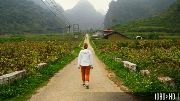 Thumbnail for Rear View of Woman Walking on Rural Dirt Road with Foggy Mountain Landscape