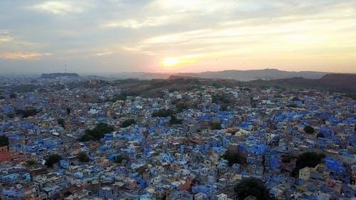 Blaue Stadt Dorf In Jodhpur, Rajasthan, Indien.