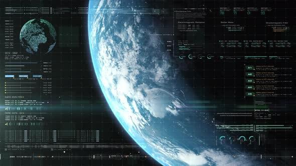 Futuristic Holographic Earth Head Up Display 05