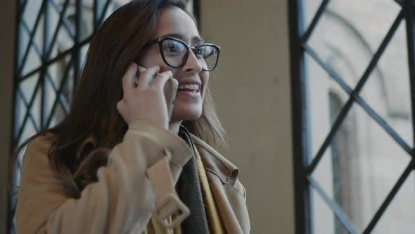 Cover Image for Student Talking on Cellphone in University. Businesswoman Calling on Smartphone