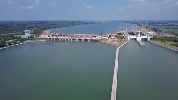 Thumbnail for Dam and Gates on Danube Aerial