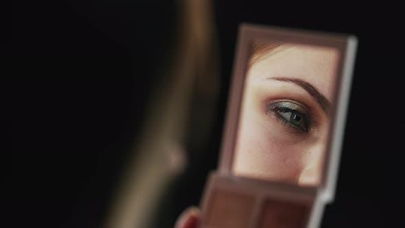 Female Eyes with Brilliant Eyeshadows Makeup