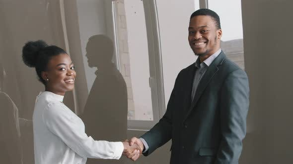 Happy Young African American Ethnicity Businesswoman Shaking Hands with Male Employer After Project
