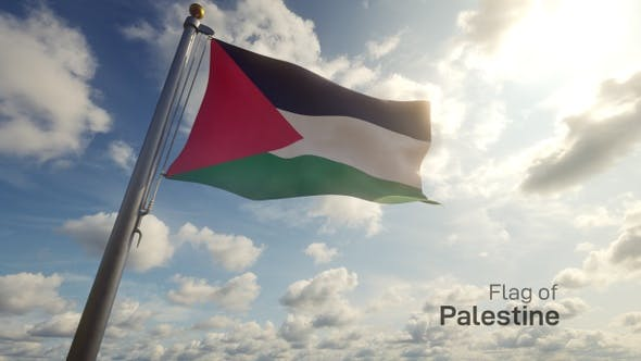 Palestine Flag on a Flagpole