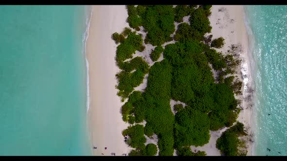 Thumbnail for Aerial top down scenery of tranquil sea view beach holiday by clear ocean and bright sandy backgroun