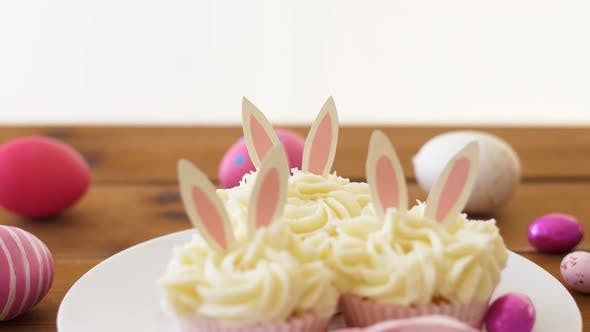 Thumbnail for Cupcakes with Easter Eggs and Candies on Table