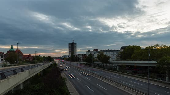 Day to night sunset Hyper Lapse of Berlin Skyline 4k