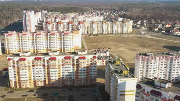Aerial Bird'seye View Of New Residential Multistorey Houses