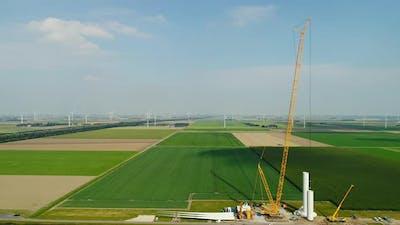 Wind farm under construction, Almere, Nederland