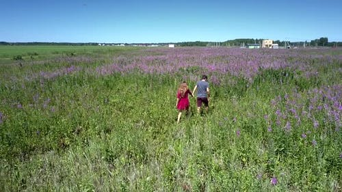 Girl and Young Man Walk Accurately on Wide Green Field