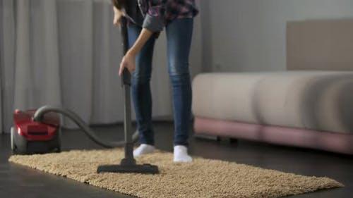 Lady Carefully Vacuuming Bed Mat, Bringing House to Order, Allergy Prevention