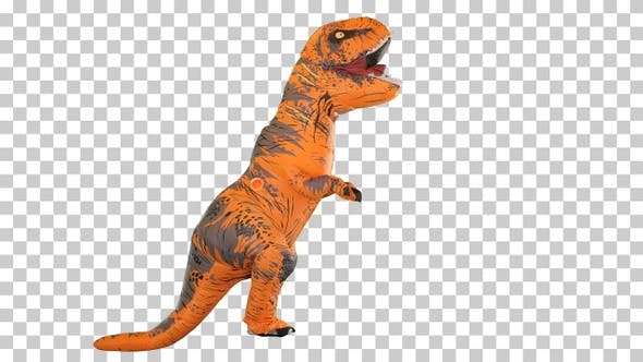 One happy and funny dinosaur walking, Alpha Channel