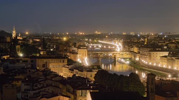 Twilight Timelapse of Florence Old Town