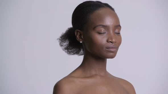 Thumbnail for Face of Happy Young Beautiful African Woman Shirtless As Beauty Concept