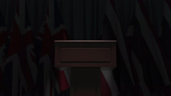 Flags of Thailand and the United Kingdom and Tribune