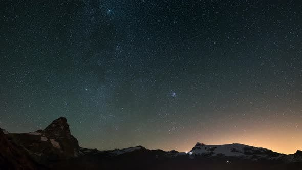 Thumbnail for Starry Sky Time Lapse Over the Majestic Matterhorn Cervino Mountain Peak