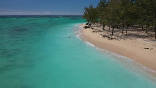 Top View of the White Beach and Turquoise Waters of the Indian Ocean Near Le Morne Brabant Mauritius