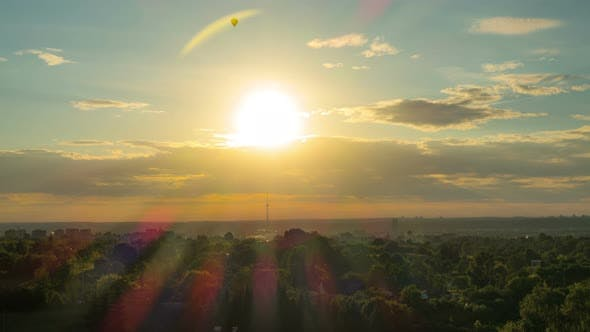 Thumbnail for Sunset over Vilnius with balloons and TV Tower, Lithunia
