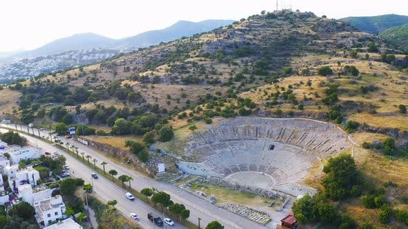 Thumbnail for Drone Shot Halicarnassus Ancient City. Amphitheater in the Resort Town of Bodrum. Aerial Footage