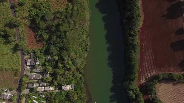 Thumbnail for Aerial View of River, Town and Farmland in Mauritius