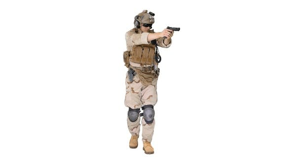 Thumbnail for Soldier Walking and Aiming with A Pistol on White Background