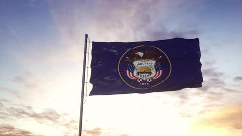 State Flag of Utah Waving in the Wind