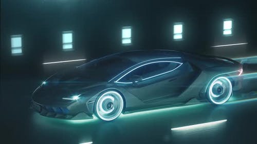 Sports Cyber Neon Car Rushes on the Night Road with Neon Lights and Trail