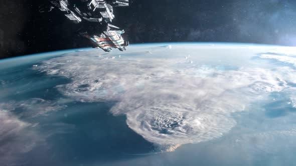 Thumbnail for Large Spaceship Entering Orbit of Planet