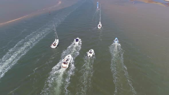 Thumbnail for Aerial View of Pleasure Boats on a Sunny Day