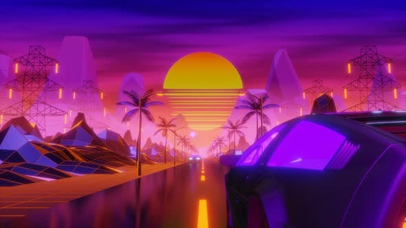 Thumbnail for Synthwave background