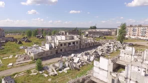 Thumbnail for Dying destroyed city Yubileiniy. Aerial. Russia, Perm region