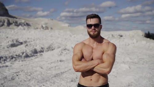 Portrait of shirtless athlete