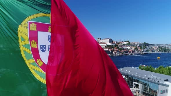 Thumbnail for Big Portugal Flag With Porto City in the Background