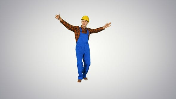 Cover Image for Builder counting his salary and dancing in a comic way