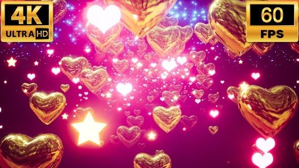 Glow Golden Hearts 4k