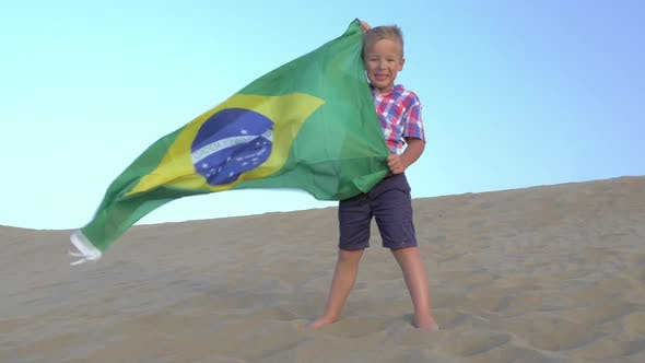 Thumbnail for Child with Brazilian Flag the Beach