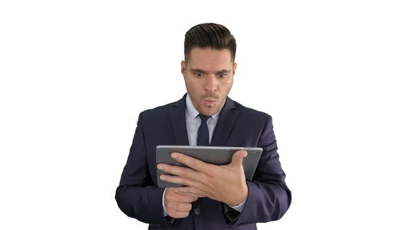 Thumbnail for Shocked Businessman Watching Something on Digital Tablet
