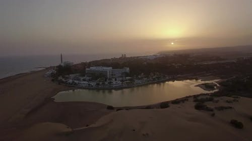 Aerial view of resort on Gran Canaria coast at sunset