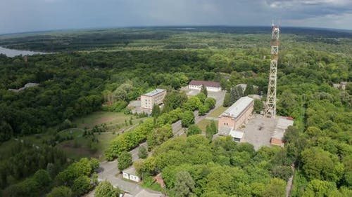 Drone Flight Over City Hall Building of Chernobyl