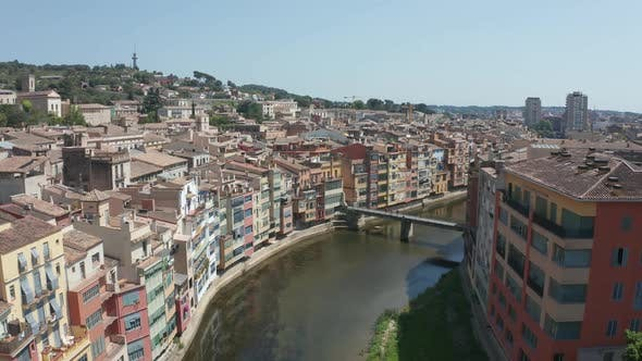 Thumbnail for Drone Flight Over Roofs of Colorful Girona Houses