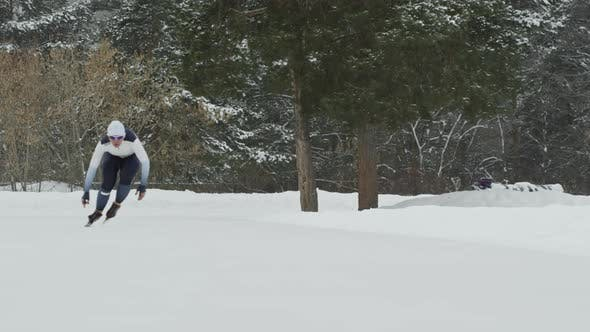 Thumbnail for Speed Skater Training in Outdoor Ice Rink